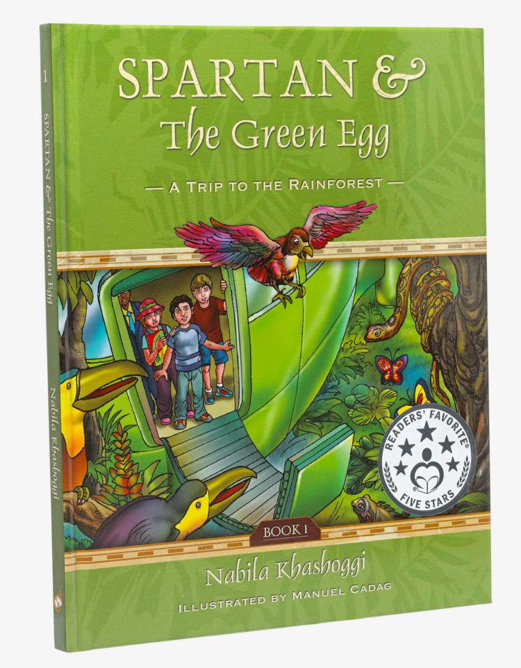 Cover of Spartan and the Green Egg: A Trip to the Rain Forest by Nabila Khashoggi featuring kids in a green helicopter in the rainforest