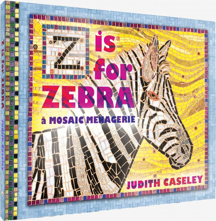 The cover of z is for zebra which shows an image of a zebra created by tiles