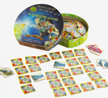 Spartan and the Green Egg Matching Game with the game cards laid out