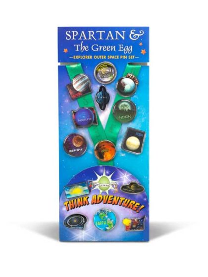 Spartan and the Green Egg: Explorer Outer Space Pin Set featuring pins of the solar system