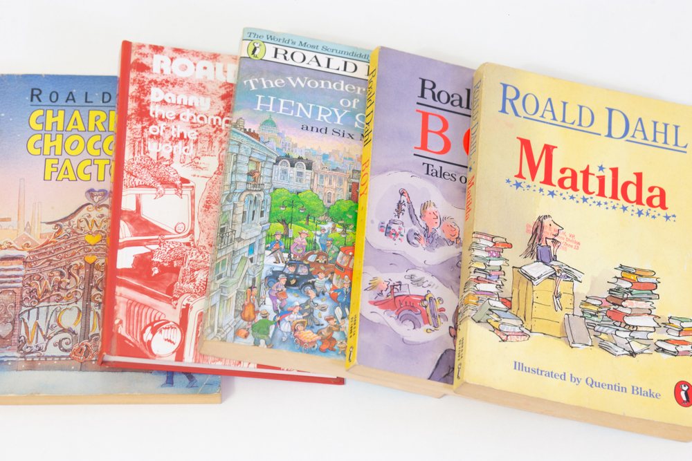 5 of Roald Dahl's Books: Charlie and the Chocolate Factory, Danny the Champion of the World, The wonderful story of henry sugar and six more, boy, and matilda