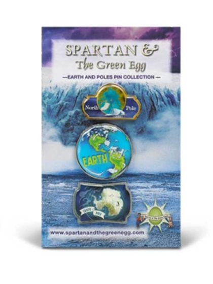 Spartan and the Green Egg Earth and Poles Pin Collection